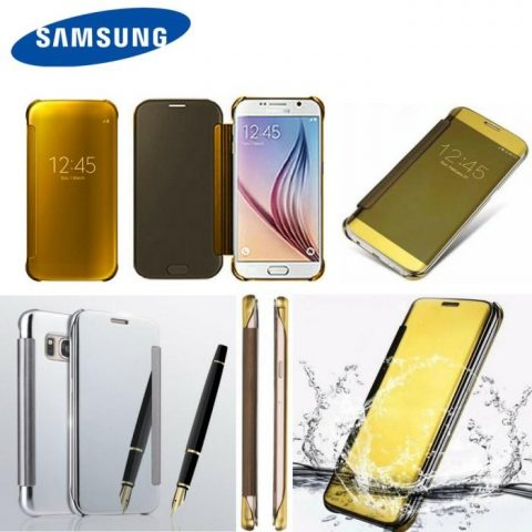 LUXURY MIRROR PU MIRROR FLIP CASE FOR ALL SAMSUNG MODELS & HUAWEI P9
