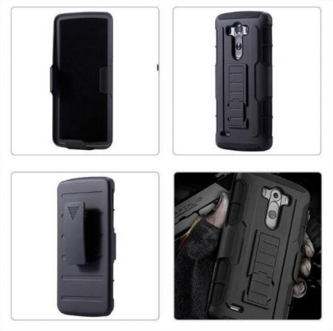 MILITARY STYLE TOUGH HYBRID 3 IN 1 3D KICKSTAND BELT CLIP - LG G4 AND G5