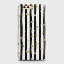 HUAWEI P10 GLITTER HEART STRIPES CASE