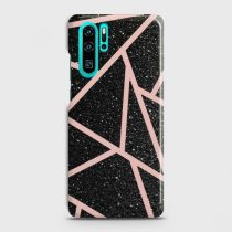 HUAWEI P30 PRO BLACK SPARKLE GLITTER WITH ROSEGOLD LINES CASE