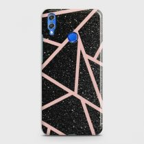 HUAWEI P SMART 2019 BLACK SPARKLE GLITTER WITH ROSEGOLD LINES CASE
