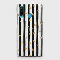 HUAWEI P30 LITE GLITTER HEART STRIPES CASE